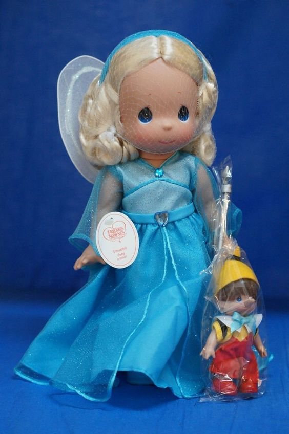 Pinocchio & Blue Fairy Disney Precious Moments Doll Set 5858 Signed #PreciousMoments #Dolls