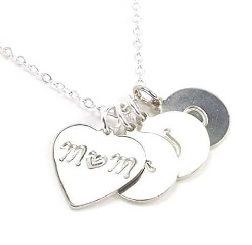 Personalized Mother Daughter Son Initial Necklace With Heart Mom Pendant Custom 3 Children Letter Discs 3 Children Initial Necklace Necklace Alphabet Jewelry