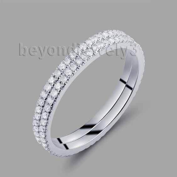 cheap wedding bands with two rings in 0.56ct natural diamonds 14kt white gold wedding rings r0014