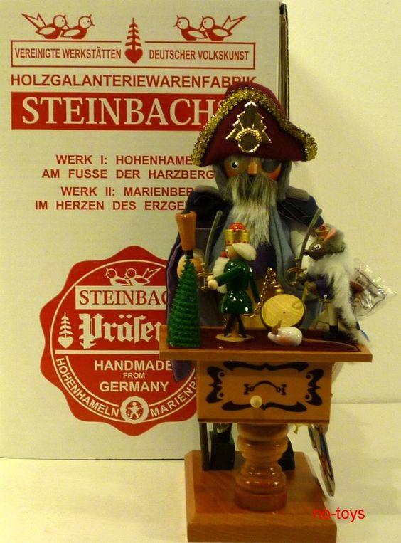 """STEINBACH GERMAN WOODEN NUTCRACKER CHUBBY SMOKER """"DROSSELMEYER"""" S840 MUSICAL NEW"""