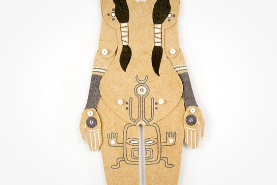 Tattooed Tribal Girl articulated art paper doll hand от mooncoocoo