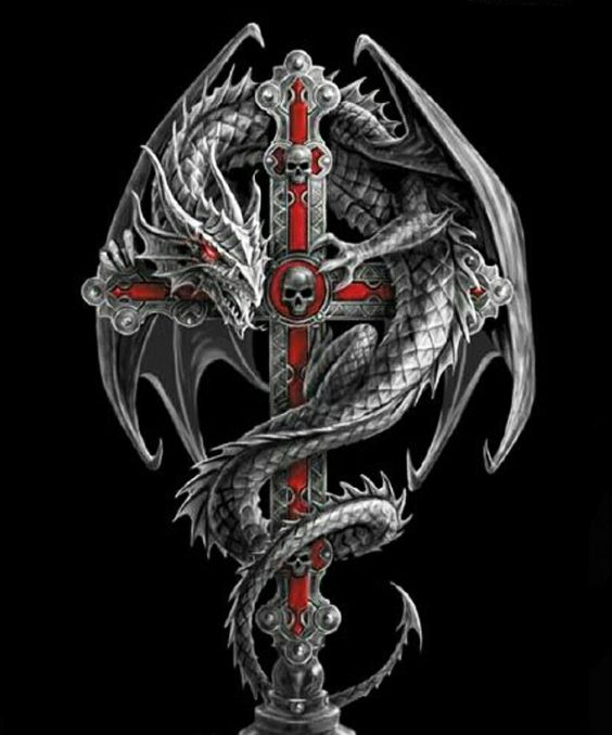 dragon on cross wallpaper quotes sayings pinterest crosses and dragon. Black Bedroom Furniture Sets. Home Design Ideas