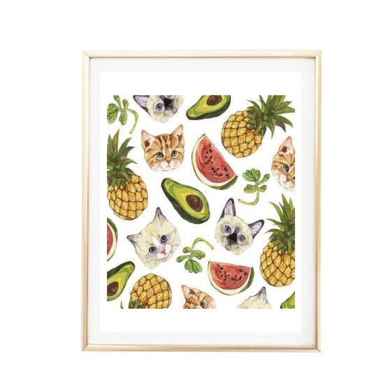 Girly Kitchen Decor: Printable 8x10 Funny Fruits And Cats Pattern Print