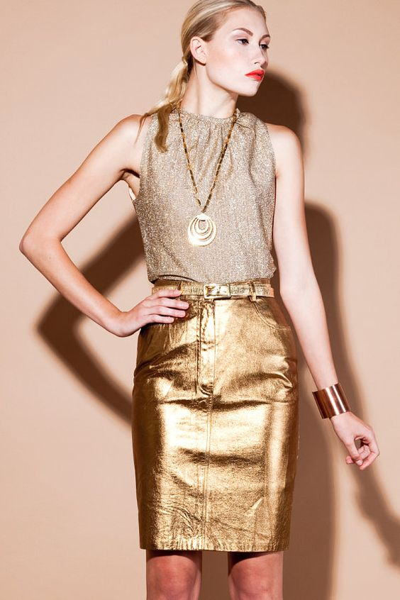 Metallic gold leather skirt | Fashion For My Lady | Pinterest ...