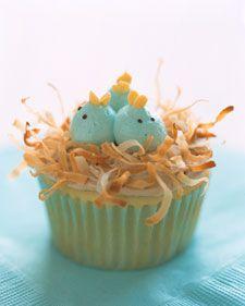 "baby bluebird cupcakes.  toasted coconut ""nest"" and blue jellybean bird?"