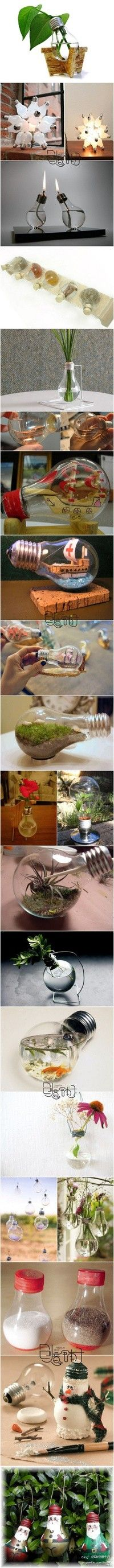Lots of crafty ways to re-purpose light bulbs!