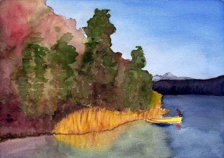 """""""Herbst am See"""" Malerei von Claudia Färber jetzt als Poster, Kunstdruck oder Grußkarte kaufen.."""