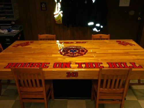 Custom firehouse kitchen table fairfield township ohio the fire critic fd pinterest - Custom kitchen table ...
