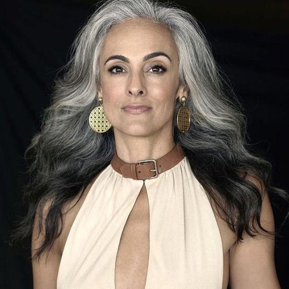 Long Gray Wavy Hairstyle