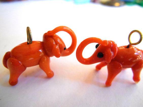 Vintage elephant pendant 1 glass lamp work handmade  by a2zDesigns