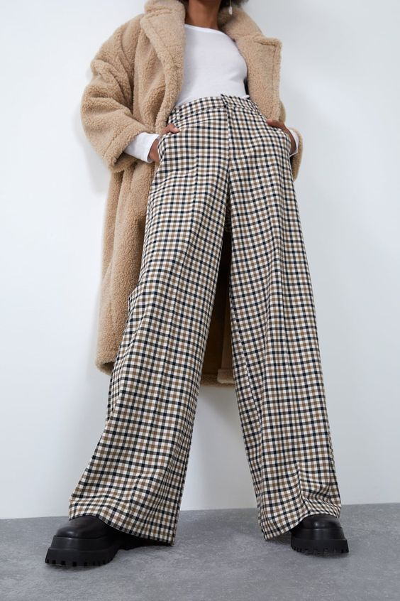 WIDE-LEG CHECK SUIT TROUSERS-View all-TROUSERS-WOMAN | ZARA International