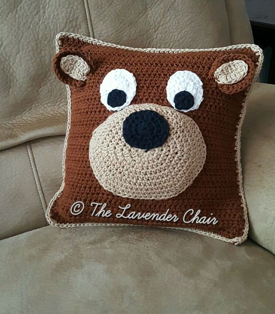 Animal Pillow Patterns Free : Teddy Bear Pillow - Free Crochet Pattern - The Lavender Chair My hobby is crochet ...