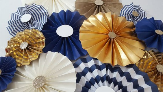 Nautical Striped Navy and Gold Boy Party Set of 12 by eventprint