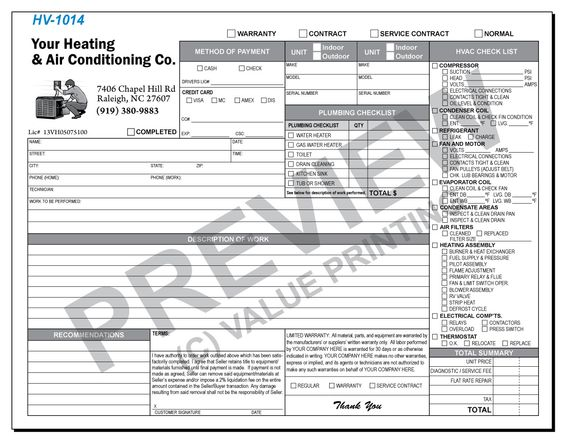 Call Value Printing for More Details! The form combines a common - hvac invoice sample