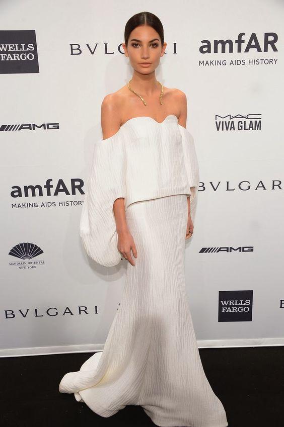 Lili Aldridge at 2014 amfAR New York Gala