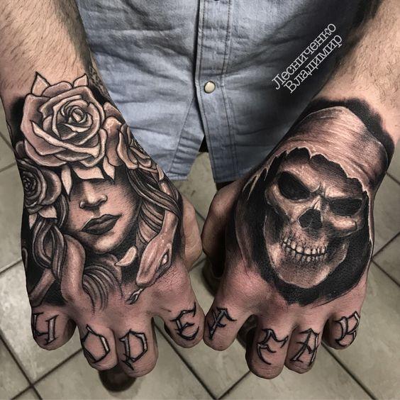 best skull hand tattoos for men