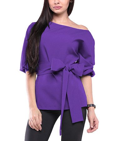 Now who wouldn't love this boldly feminine touch in one's wardrobe? Violet Bow-Sash Boatneck Top - Plus Too, From European brand Laura Bettini #zulily #zulilyfinds