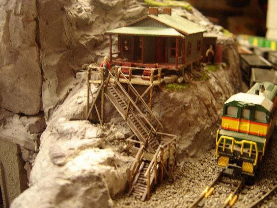 Employee layover cabin on an N Scale mountain train layout