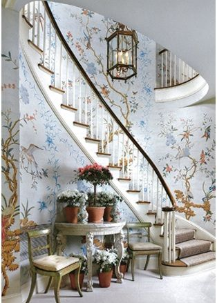 I have no space anything like this staircase, but I love the wallpaper and the colors and the light