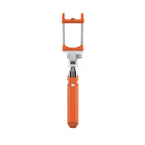 Selfie Stick Compact Foldable Extendable wire Shutter for iPhone/Android - Orange