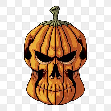 Halloween Pumpkin Skull Head Vector Illustration Card Cartoon Celebration Png And Vector With Transparent Background For Free Download Halloween Poster Halloween Pumpkins Vector Illustration
