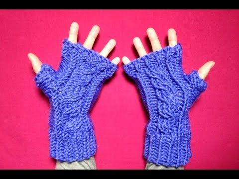 Loom Knit Fingerless Gloves Pattern : Loom Knit Cabled Fingerless Mittens (I use the blue one for mine. They start ...