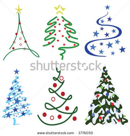 Stock Vector Christmas Tree Design Set Six