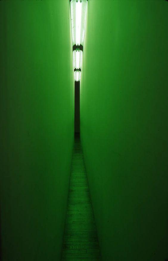 "Geffken MIYAMOTO - Interior and exterior: Bruce Nauman and Olafur Eliasson Bruce Nauman, ""Green Light Corridor"", 1970, colored wooden walls, fluorescent bulbs (green), 12.2mx 3m x 30.5 cm (dimensions variable). Solomon R. Guggenheim Museum, New York , Panza Collection, Photo: Giorgio Colombo, Milano"