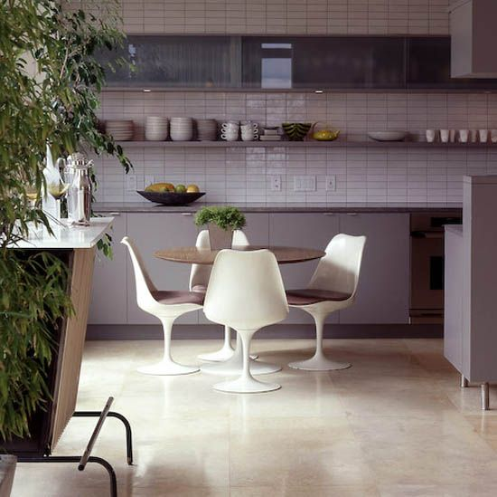 grey kitchen, tulip chairs via marion house book.
