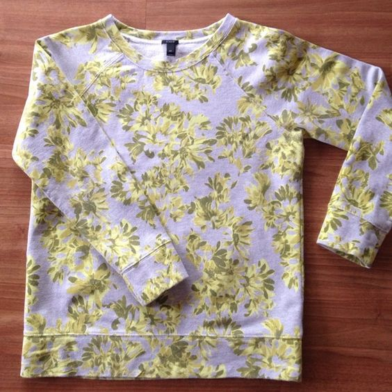 J.Crew Photo Floral Sweatshirt - Size XS J.Crew Photo Floral Sweatshirt - Size XS. Neon lime green, grey, olive green. I'd call it a mid-weight sweatshirt- good for spring and fall and cool summer nights. I also wore it layered over a button down. Fitted. True to size. Worn and washed but great condition. Pet free/smoke free. J. Crew Tops Sweatshirts & Hoodies