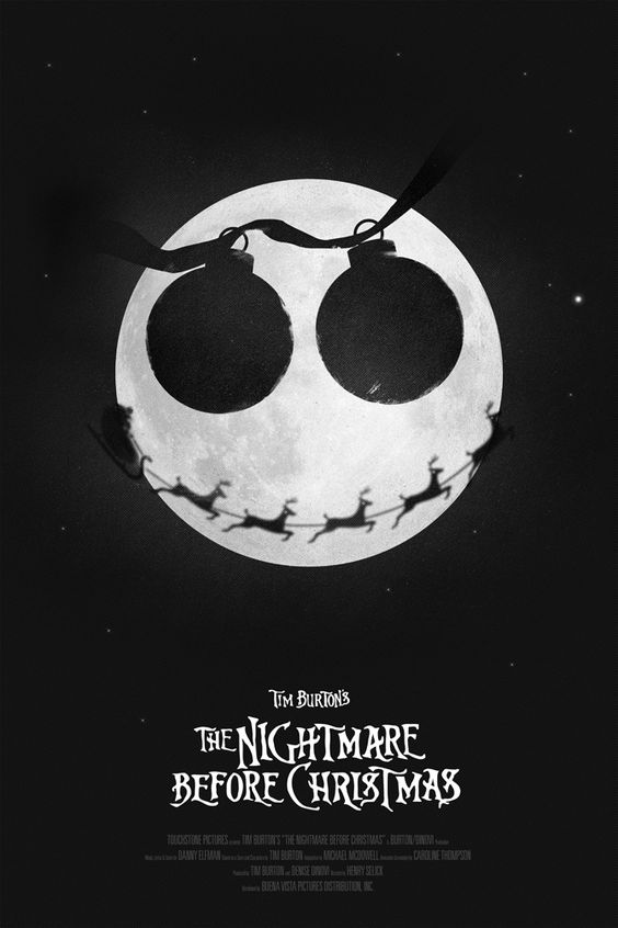 """18"""" x 24"""" movie poster for re-release screening of Tim Burton's film The Nightmare before Christmas"""