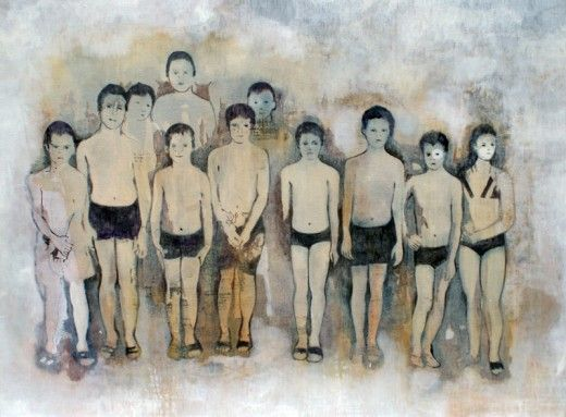 Miriam Vlaming, Aufstellung, 2012, Egg tempera on canvas, 110 x 140 cm, Courtesy Galerie Dukan | Galerie Dukan