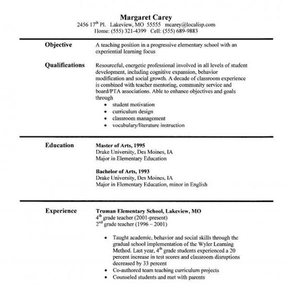Resume For A Teacher Elementary Teacher Resume Examples …  Pinteres…