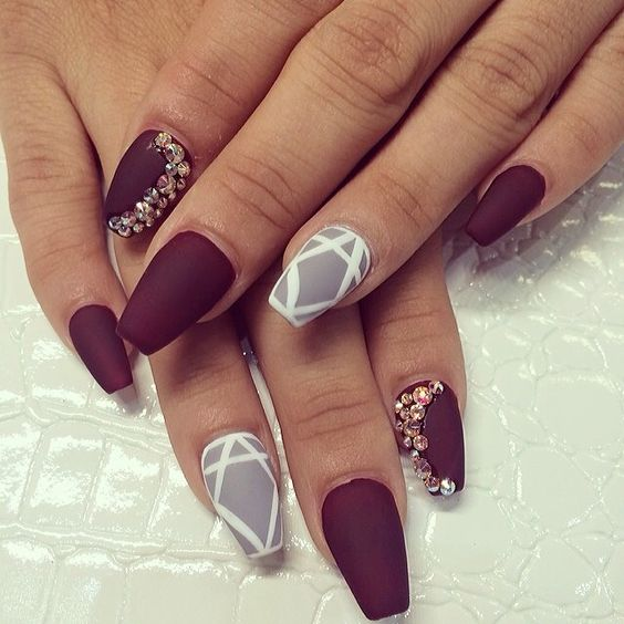 full set matte with swarovski and design 56 laquenailbar - Ideas For Nails Design