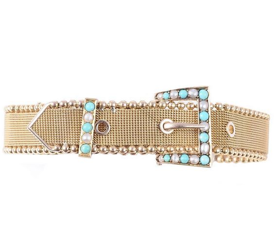 We're loving the stylish yellow gold mesh #buckle #bracelet with #turquoise and detail by @turnerandtatler #unique #vintage