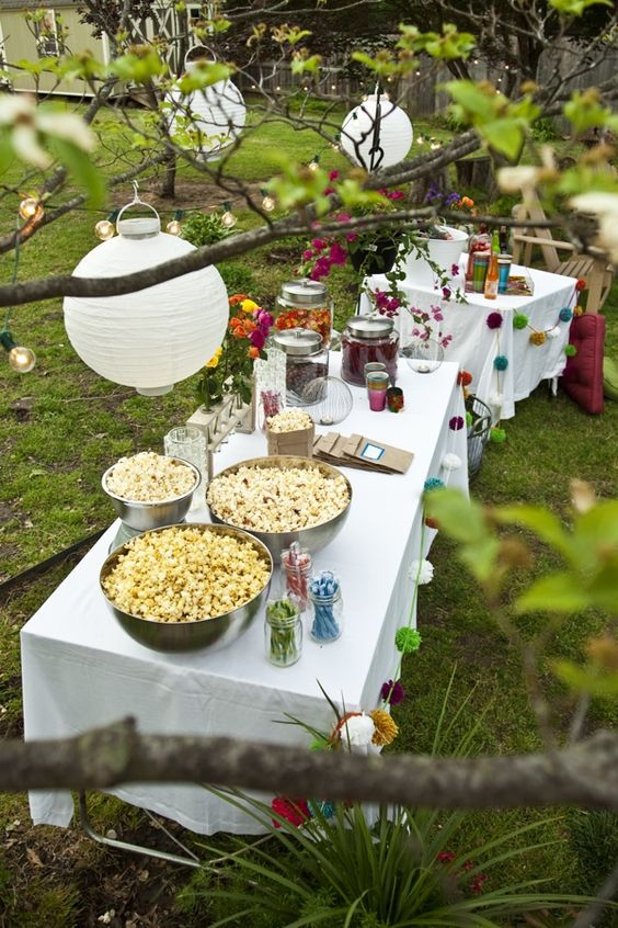 outdoor party themes; Outdoor Movie Night.