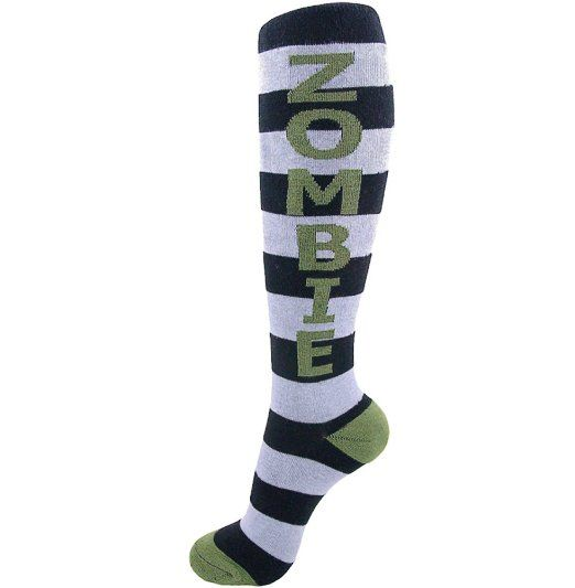 Amazon.com: Zombie Black and White Stripe Socks By Gumball Poodle: Clothing