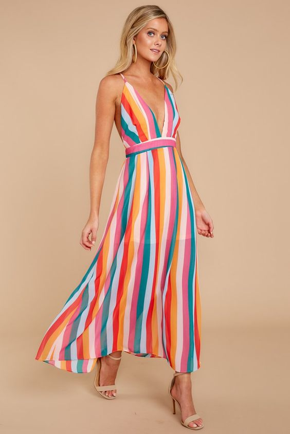 Lucky Star Rainbow Stripe Dress – Red Dress Boutique