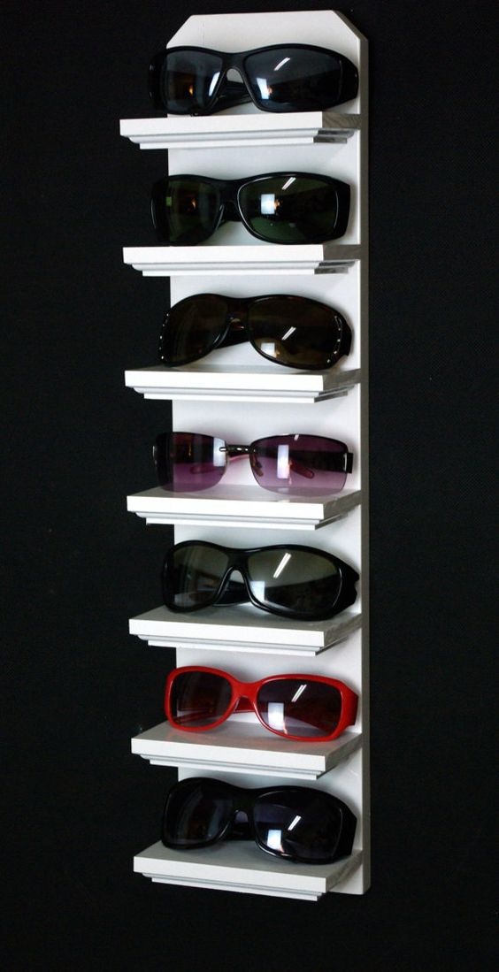 "24"" Gloss White 7 Shelf Wall Mount Sunglasses Display Shelf Rack Organizer on Etsy, $24.95"