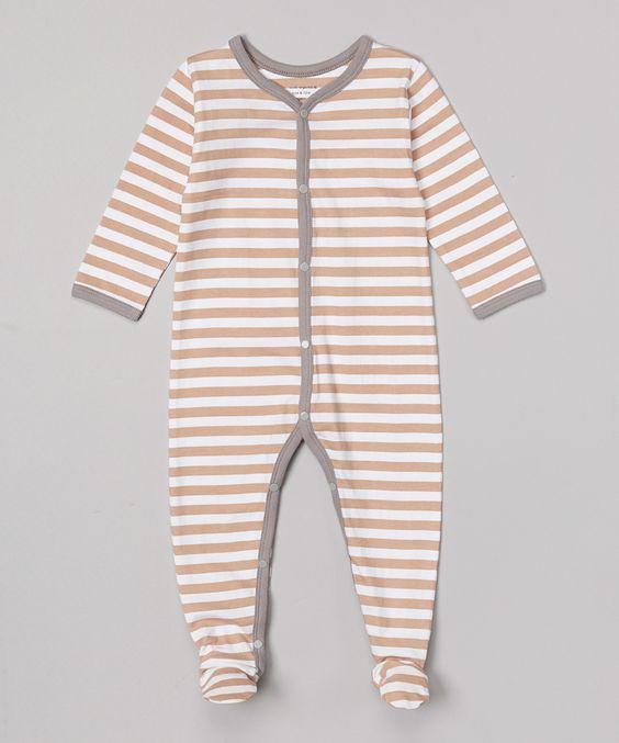 Gray & Tan Stripe Organic Footie - Infant | zulily