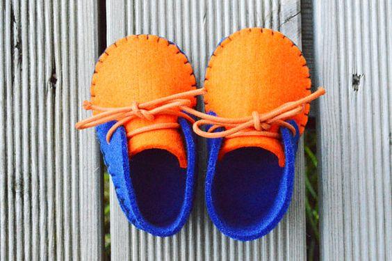 Felt Baby Booties Blue Orange on Etsy, $12.48