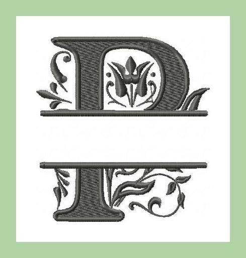 Machine Embroidery Design Split P Regal Letter by BlingSassSparkle