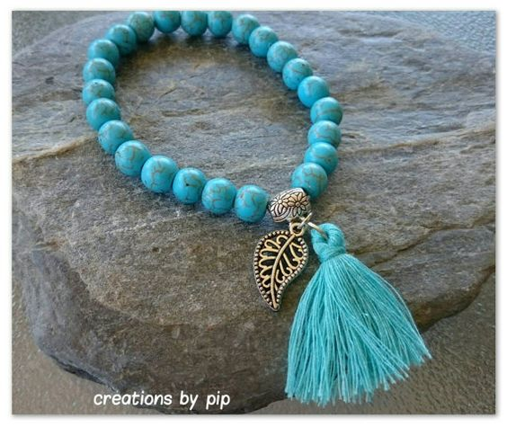 Check out this item in my Etsy shop https://www.etsy.com/uk/listing/253826473/blue-turquoise-leaf-tassel-bracelet