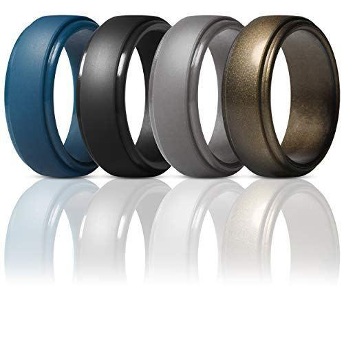 Thunderfit Silicone Rings For Men 4 Pack Rubber Wedding Bands Dark Blue Black Brass Men Bronze 9 5 10 19 8mm Boughtagain In 2020 Rubber Wedding Band Rubber Rings Wedding Rings For Men