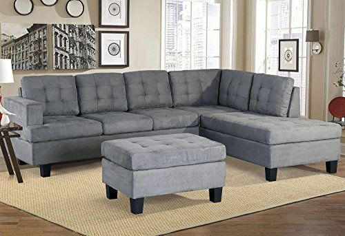 Amazon Com Merax Sofa 3 Piece Sectional Sofa With Chaise And Ottoman Living Room Fur Sectional Sofa With Chaise Ottoman In Living Room 3 Piece Sectional Sofa