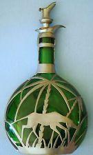 Kunstvoll Zinngefasste Art-Deco Bocksbeutel-Glas-Karaffe
