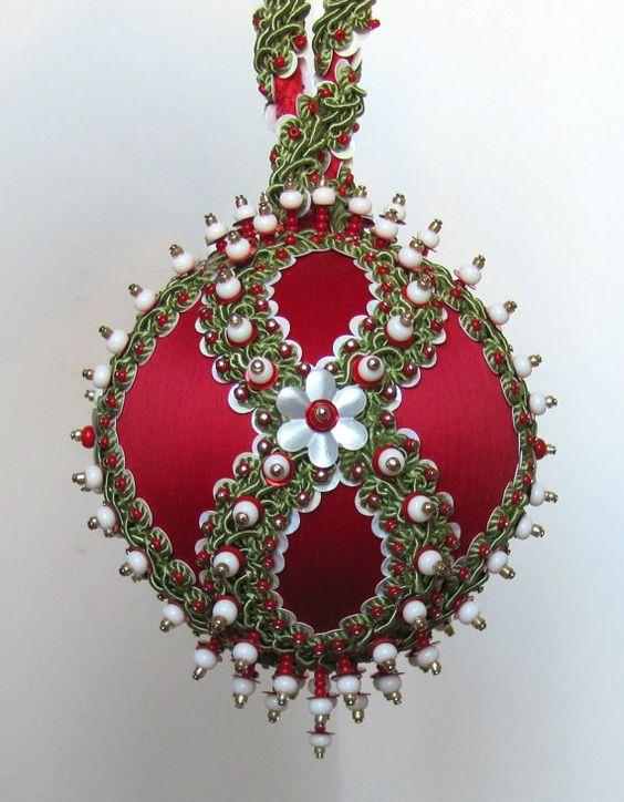 Wondrous Beaded Christmas Ornament Holidays Pinterest Beaded Easy Diy Christmas Decorations Tissureus