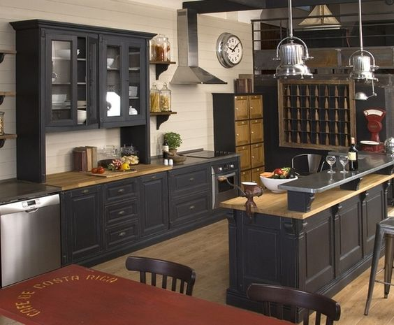 Black color paint ideas for wooden kitchen cabinets and wooden kitchen sets
