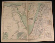 Egypt Nile Delta Palestine Israel Phoenicia 1892 antique color lithograph map