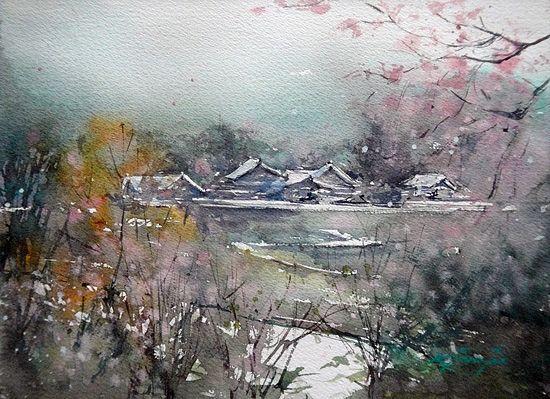 Keiko Tanabe Sakura Painting Master Watercolor China Art